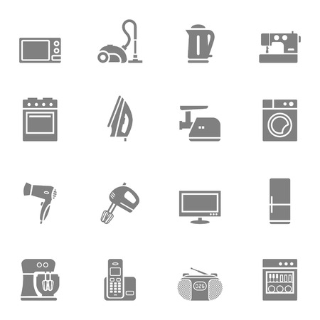 mincer: Set of vector home appliances and electronics silhouette icons Illustration