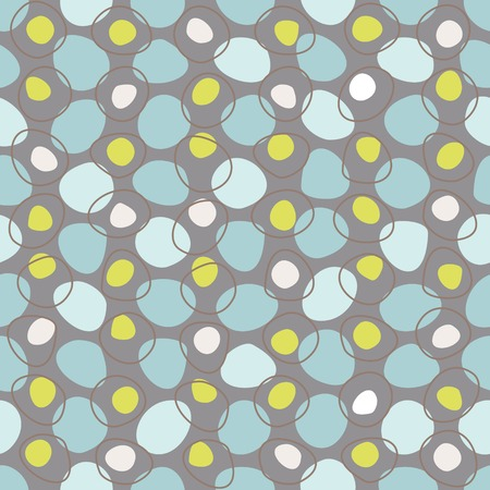 celadon: Vector vintage geometric abstract seamless pattern with colored spots, circles and dots