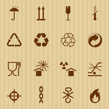 grune: Packing and logistic signs. Vector icons set Illustration