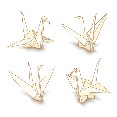 Vector illustration of origami paper cranes isolated on white background