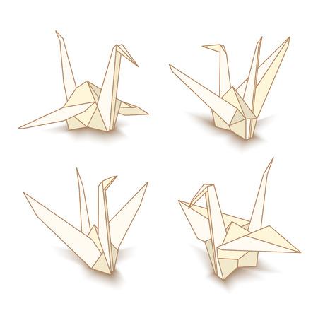 Vector illustratie van origami papier kranen geïsoleerd op een witte achtergrond