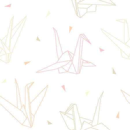 折り紙のシームレスなベクトル パターン クレーンに分離ホワイト バック グラウンド