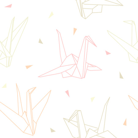 Seamless vector pattern of origami paper cranes isolated on white background Ilustração