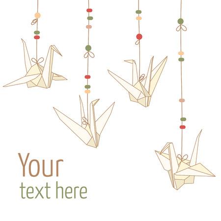 Vector illustratie van opknoping origami papier kranen geïsoleerd op een witte achtergrond