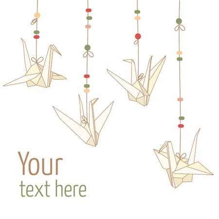 Vector illustration of hanging origami paper cranes isolated on white background