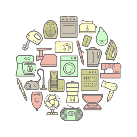 Circle set of vector home appliances and electronics silhouette icons