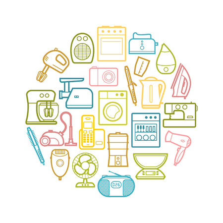 Circle set of vector home appliances and electronics contour icons