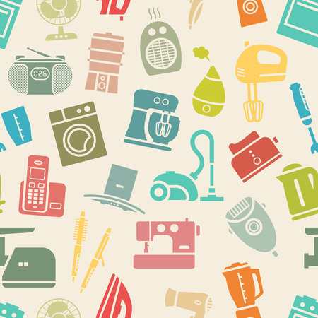 Light seamless pattern of silhouette home appliances and electronics. Vector illustration