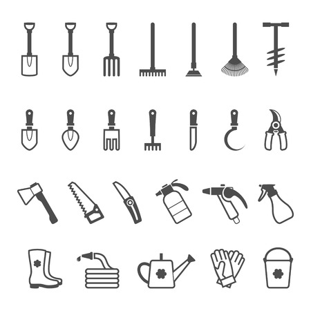 gardening hoses: Icon set of garden tools. Vector illustration Illustration