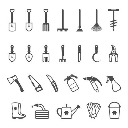 herramientas de trabajo: Icono conjunto de herramientas de jardín. Ilustración vectorial