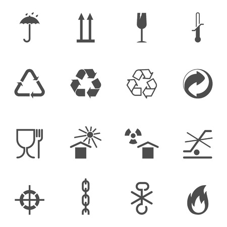 grune: Packing and logistic isolated signs. Vector icons set