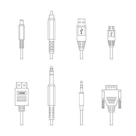 Contour vector kleur schetsen diverse audio-aansluitingen en ingangen set Stock Illustratie