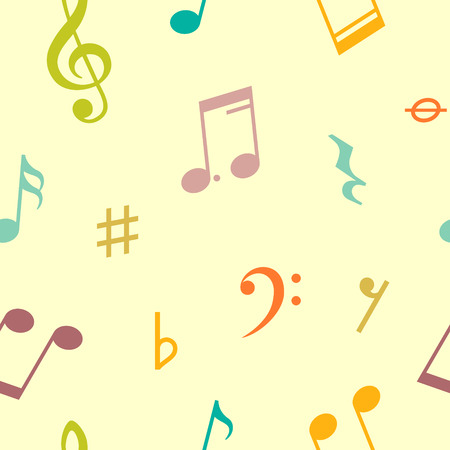 key signature: Seamless pattern of music notes and icons. Vector illustration Illustration