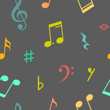 eight note: Seamless pattern of music notes and icons. Vector illustration Illustration