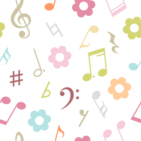 eight note: Seamless pattern of music notes and flowers. Vector illustration Illustration