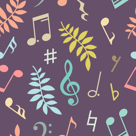 crotchets: Seamless pattern of music notes and leaves. Vector illustration Illustration