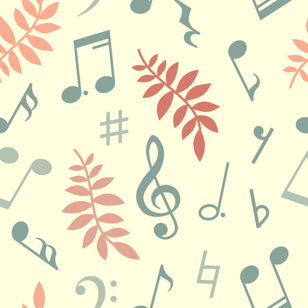 eight note: Seamless pattern of music notes and leaves. Vector illustration Illustration