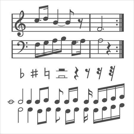 Muziek notities en iconen set. Vector illustratie