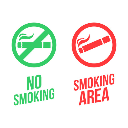 sick leave: No smoking and Smoking area signs. Vector illustration