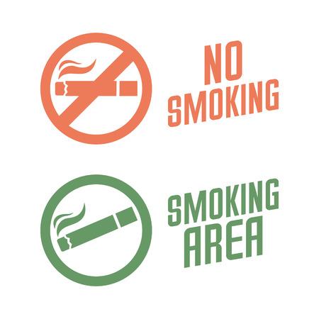 habitos saludables: No fumar y de zona de fumadores signos. Ilustración vectorial