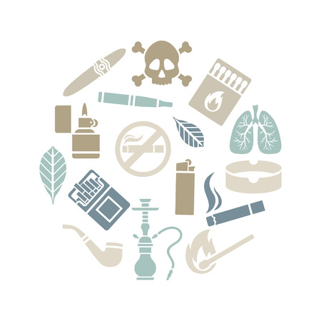 sick leave: Circle set of silhouette of smoking icons. Vector illustration