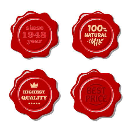 wax seal: Set of vector isolated red wax stamp. Old wax seal. Design elements