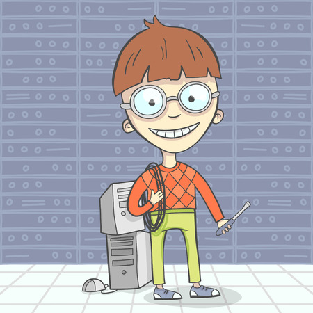 administrator: Cartoon vector illustration of system administrator character or computer man, geek. Flat design