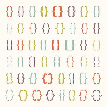 Set of braces or curly brackets icon. Vector illustrator