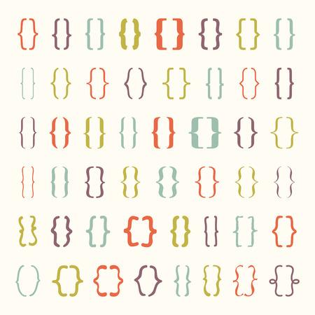 Set van beugels of accolades icoon. Vector illustrator