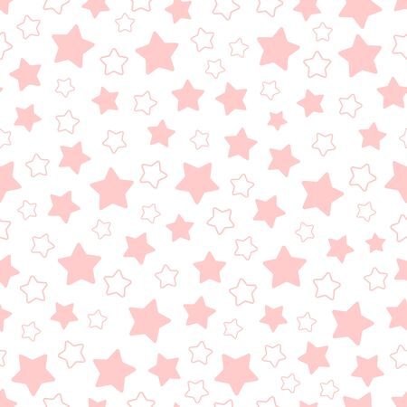 pentagram: Seamless pattern of pink pentagonal five point stars. Vector background