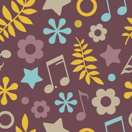 pentagramma musicale: Scuro seamless di stelle, note e foglie. Vector sfondo