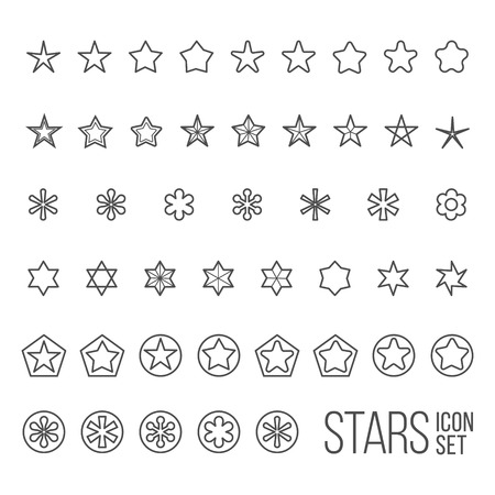 Vector set of star icons and pictograms. Five and six point star collection Vector