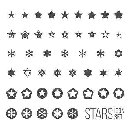 five objects: Vector set of star icons and pictograms. Five and six point star collection
