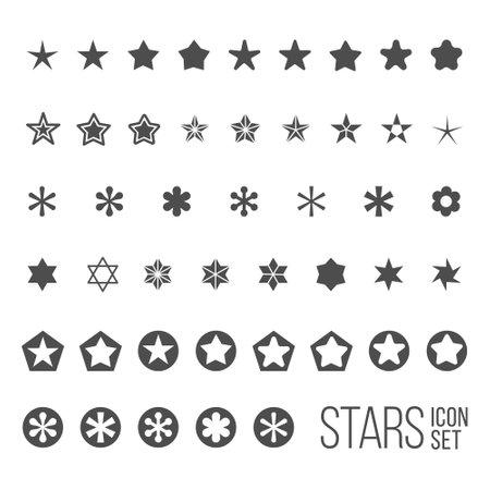 Vector set van ster iconen en pictogrammen. Vijf en zes puntige ster collectie Stock Illustratie