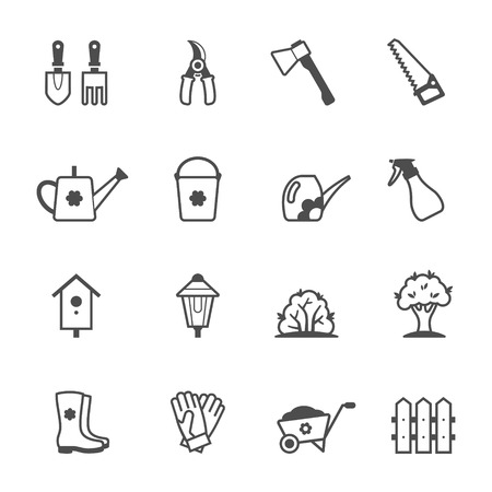 secateurs: Icon set of garden tools and accessories. Vector illustration