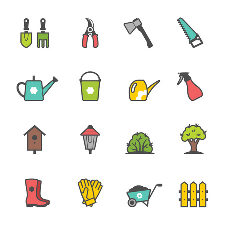 garden hose: Icon set of colored garden tools and accessories. Vector illustration