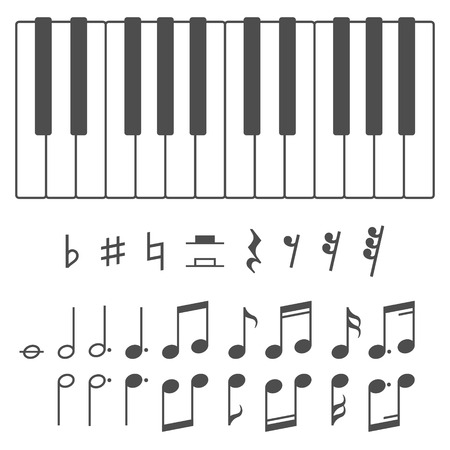 key: Black and white piano keys and music notes vector illustration