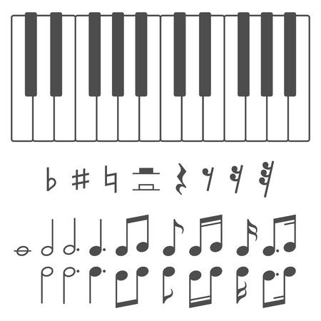 piano: Blanco y negro teclas de piano y notas de la m�sica ilustraci�n vectorial