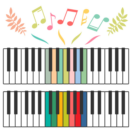 music notes vector: Colored piano keys and music notes vector illustration