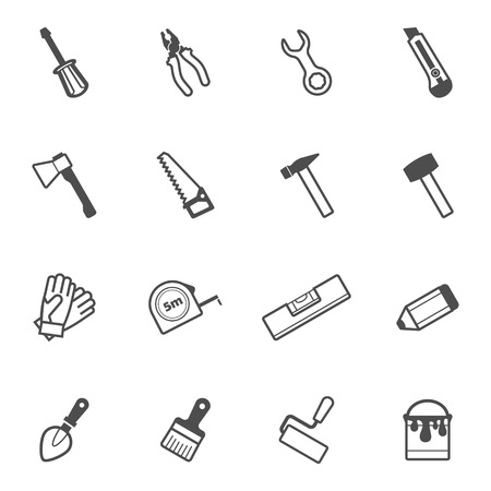 building tool: Construction, repair and building tool icon set. Vector collection Illustration