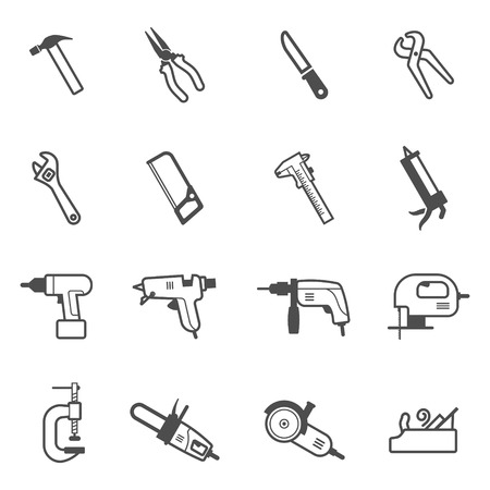 gun: Construction, repair and building mechanic and electric tool icon set. Vector collection