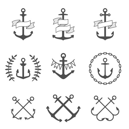 anchored: Set of anchor icons. Vector illustration Illustration