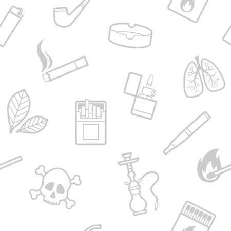 sick leave: Vector seamless pattern of smoking line style elements Illustration