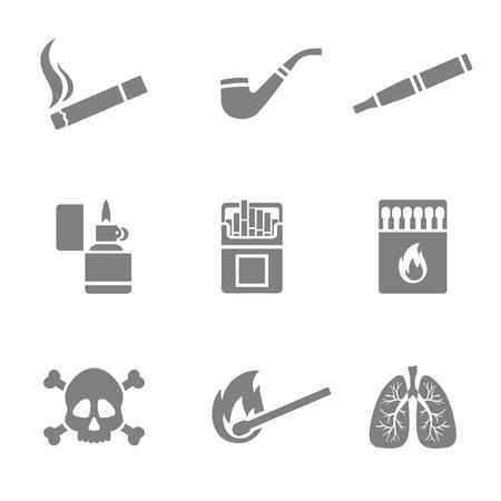 prohibido fumar: Ilustraci�n vectorial de iconos de la silueta de fumar ajustado. 9 elementos Vectores