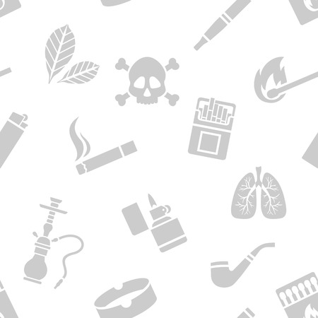 sick leave: Vector seamless pattern of smoking silhouette elements