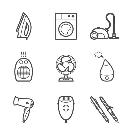 humidifier: 9 items set of home appliances and electronics contour icons