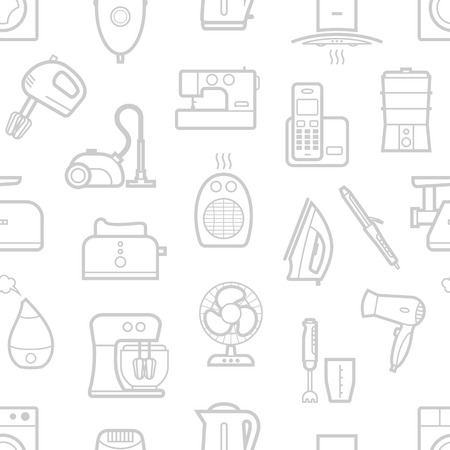 Seamless pattern of appliances and electronics icons