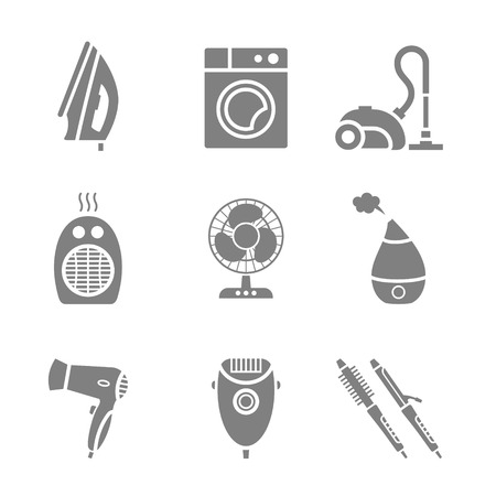 9 items set of vector home appliances and electronics silhouette icons
