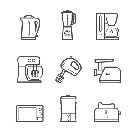 mincer: Household kitchen appliances vector line style isolated 9 items s icon set and symbols