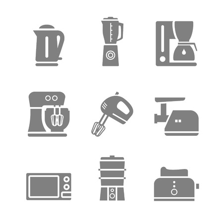mincer: Household kitchen appliances vector silhouette isolated 9 items s icon set and symbols Illustration